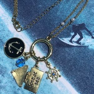 Gold Necklace With Helm Anchor & Letter Nautical